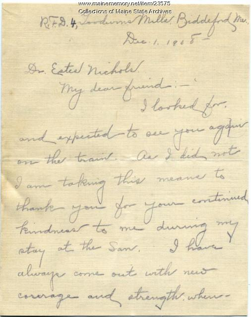 Letter of gratitude for treatment, 1908