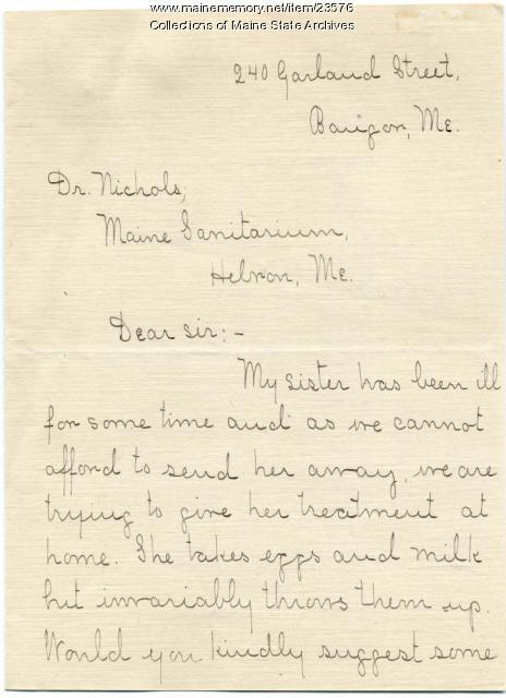 Letter seeking home TB treatment advice, 1909