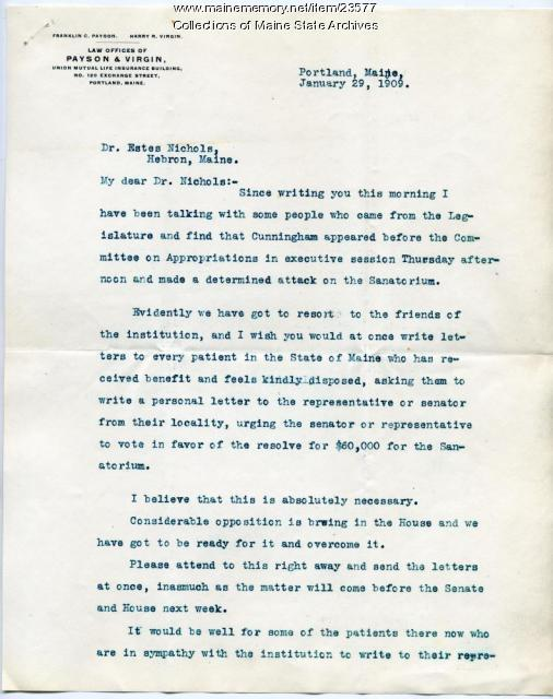 Letter concerning opposition to sanatorium funds, 1909