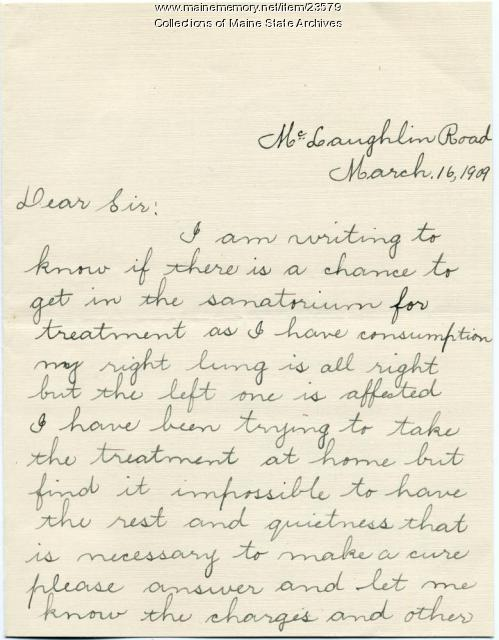 Letter seeking TB treatment, 1909