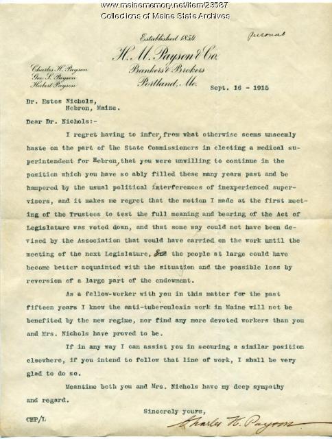 Letter concerning Estes Nichols' resignation, 1915