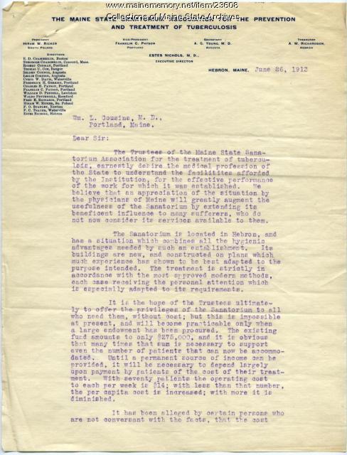 Sanatorium Association letter to physicians, 1913