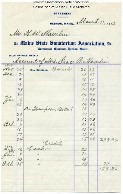 Patient account, Maine State Sanatorium, Hebron, 1913