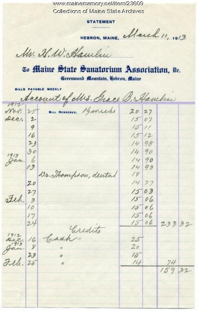 Patient account, Maine State Sanatorium, Hebron, 1913