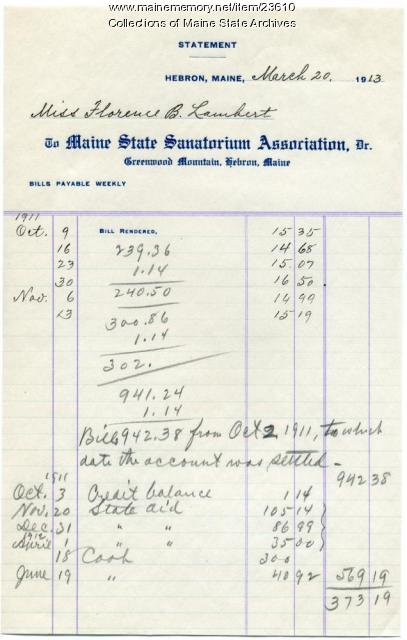 Statement of patient account, Maine Sanatorium, 1913