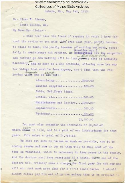 Sanatorium expenses, Hebron, 1913