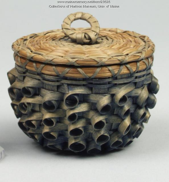 Penobscot button basket, ca. 1934