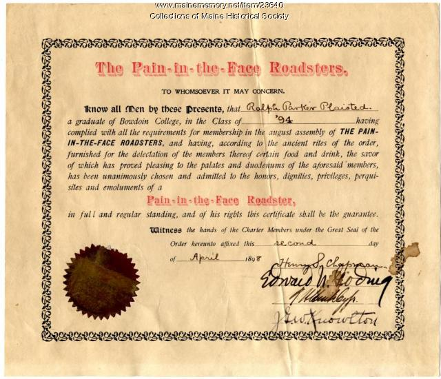 Bowdoin College humorous certificate, 1898