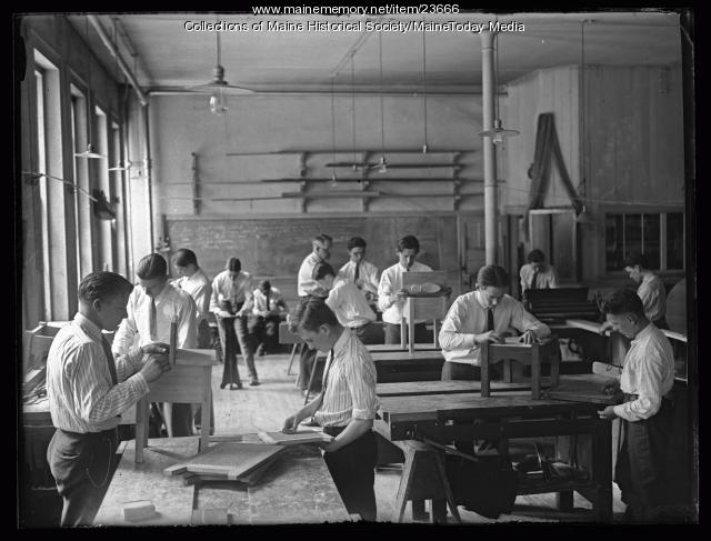Wonderful The New High School 1919 Included Rooms For An Expanded &quotMechanical Arts Course&quot Which Included Automobile Mechanics, Printing, Electricity, Machine Shop, Woodworking And Mechanical Drawing Note The Motorcycle In The