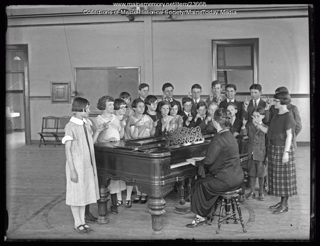 Music class, Maine School for the Deaf, Portland, 1925