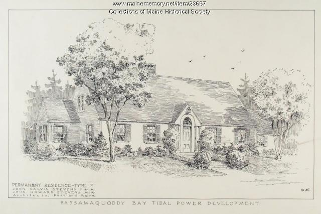 Permanent house sketch, Passamaquoddy Bay Tidal Power project, 1935