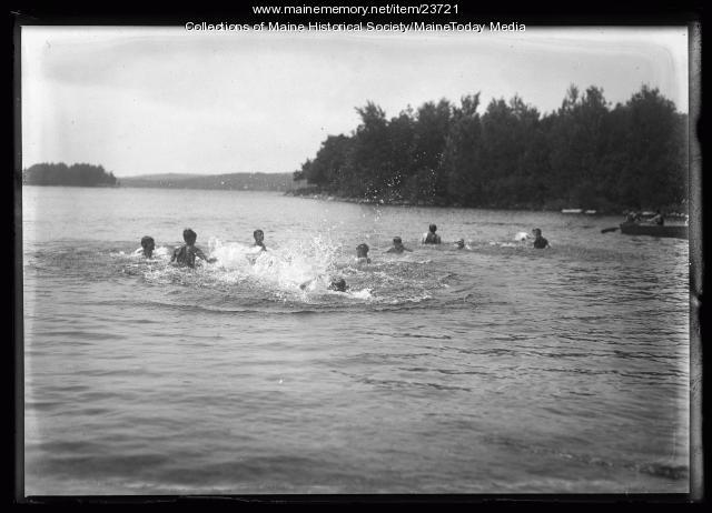 Boys swimming, North Sebago, 1921
