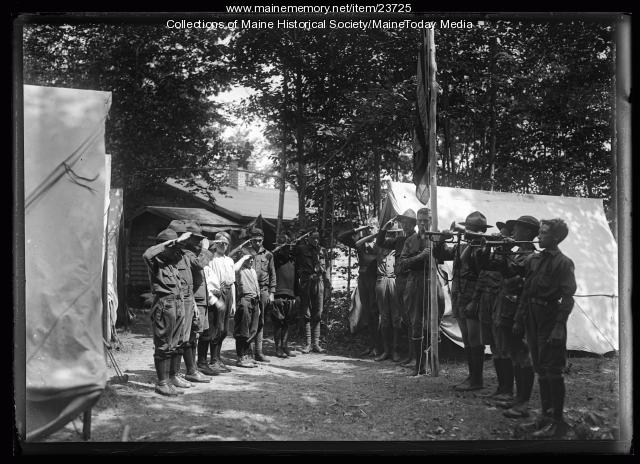 Raising the flag, North Sebago, 1921