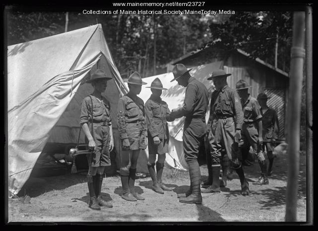 Boy Scout inspection, North Sebago, 1921