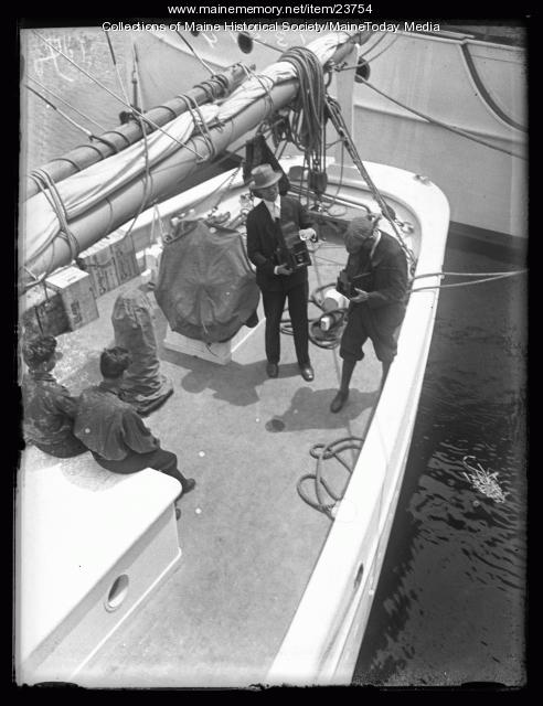Photographers aboard the Bowdoin, Wiscasset, 1926