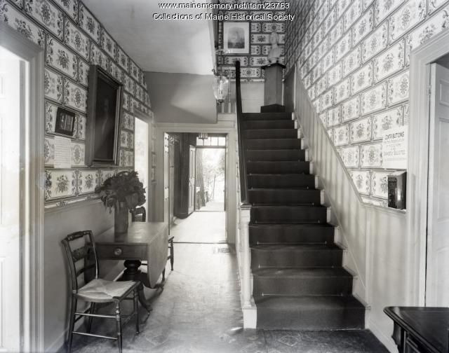 Front hallway, Wadsworth-Longfellow House, Portland, 1902