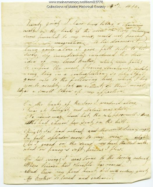 Hannah Pierce letter about teaching, books, 1814