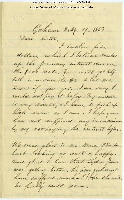 Josiah Pierce IV on debt to sister, 1863