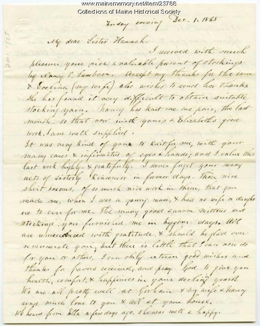 Josiah Pierce to Hannah Pierce, 1865