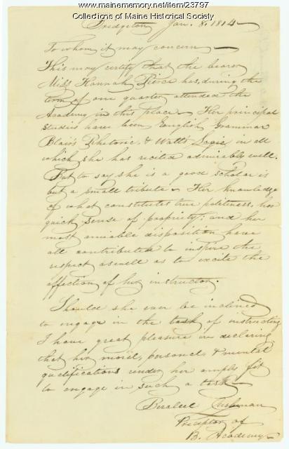 Certificate of educational achievement, Bridgton, 1814