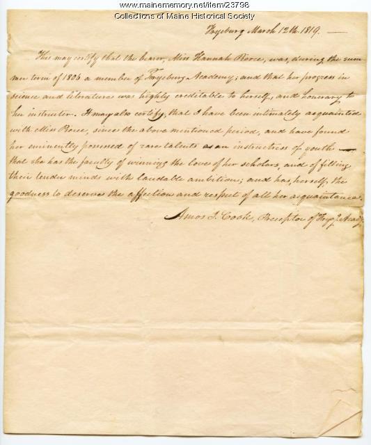Certificate of school attendance, Fryeburg, 1819