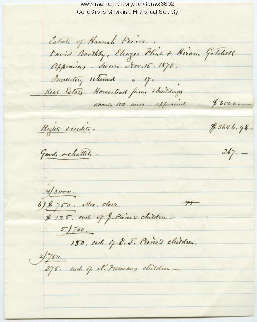 Hannah Pierce estate summary, Baldwin, 1873