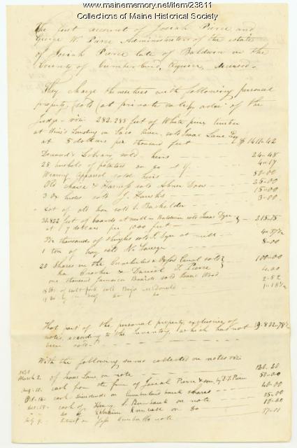 Josiah Pierce probate account, Baldwin, ca. 1830