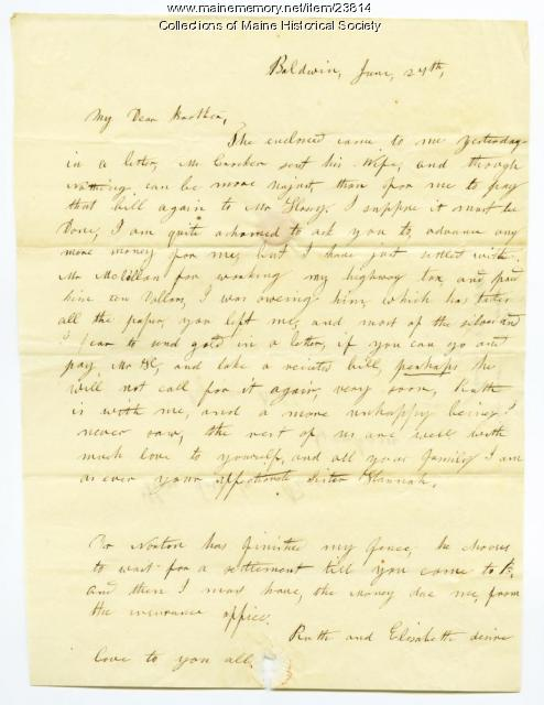 Hannah Pierce seeking tax funds from brother, 1848