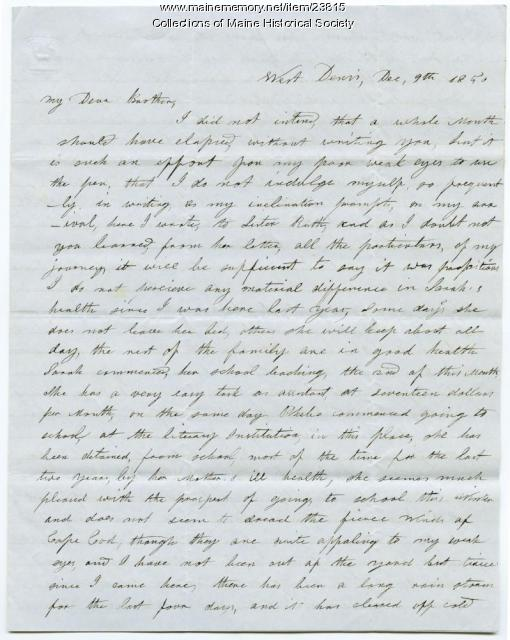 Hannah Pierce letter about nieces, sister, 1850