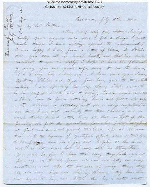 Hannah Pierce on activities of relatives, 1852