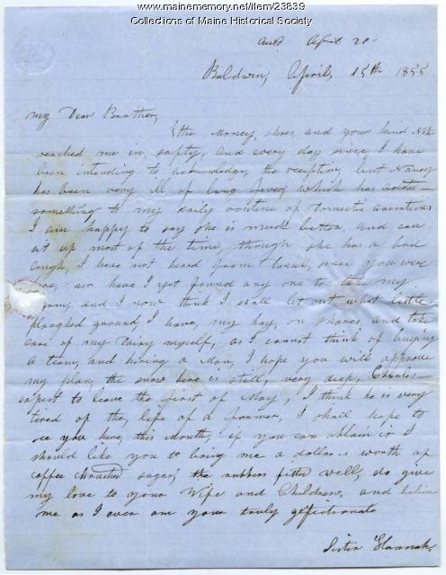 Hannah Pierce letter about farm operations, Baldwin, 1855