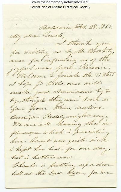 Letter about Josiah Pierce VI, Baldwin, 1861