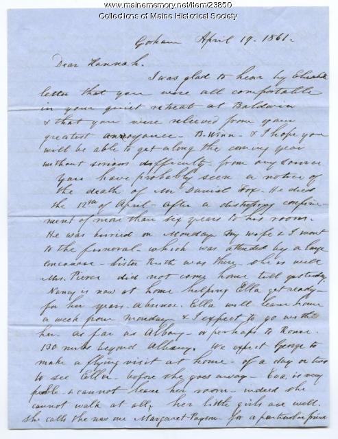 Josiah Pierce on Civil War, Gorham, 1861