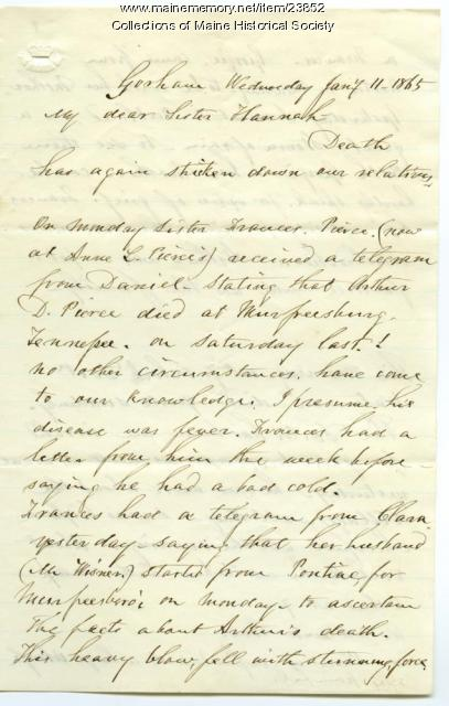 Letter on death of Arthur Pierce, 1865