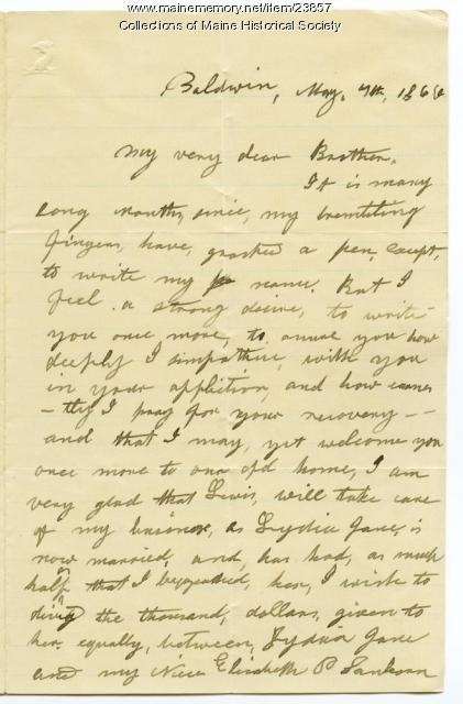 Hannah Pierce last letter to brother Josiah, 1866