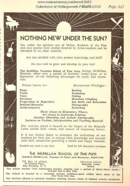 McMillan Vacation School of Fine Arts advertisement, 1933