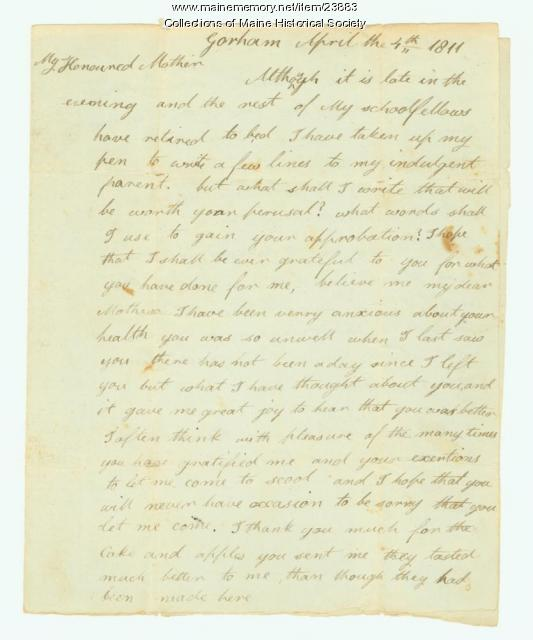 Josiah Pierce to mother, Gorham, 1811