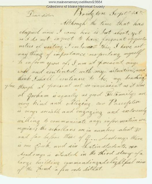 Josiah Pierce on Bridgton Academy, ca. 1811