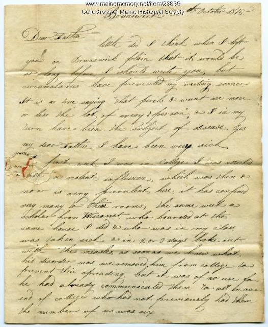 Letter about measles, influenza, Brunswick, 1815