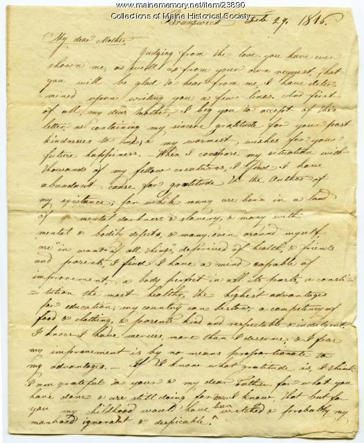 Josiah Pierce on gratitude to parents, Brunswick, 1816