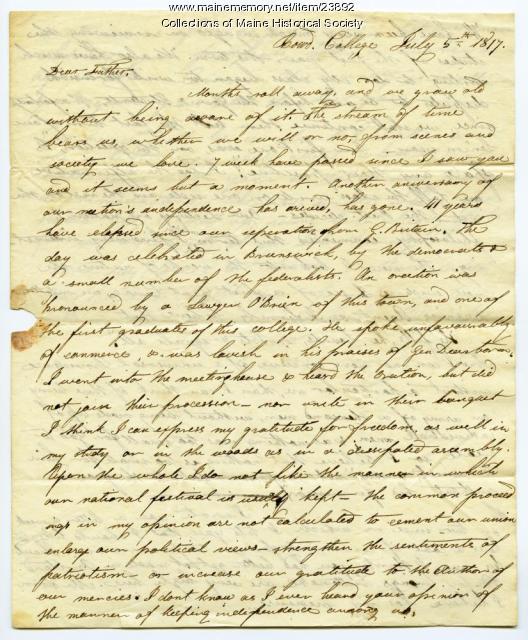 Josiah Pierce on July 4 celebration, Brunswick, 1817