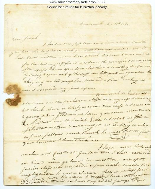 George Pierce on Bowdoin freshmen, 1821