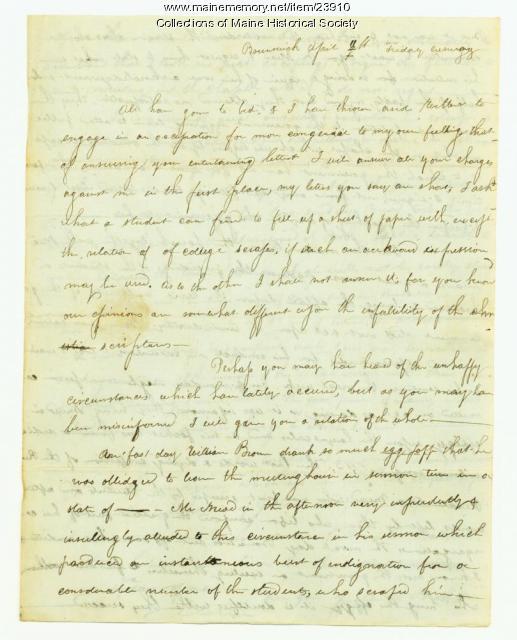 George Pierce on Bowdoin incident, Brunswick, 1823