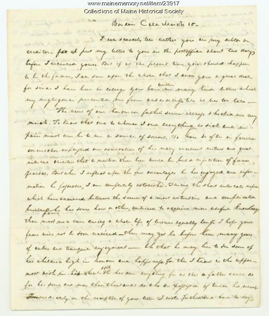 George Pierce on father's illness, Brunswick, 1825