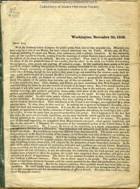Letter about Missouri Compromise, 1820