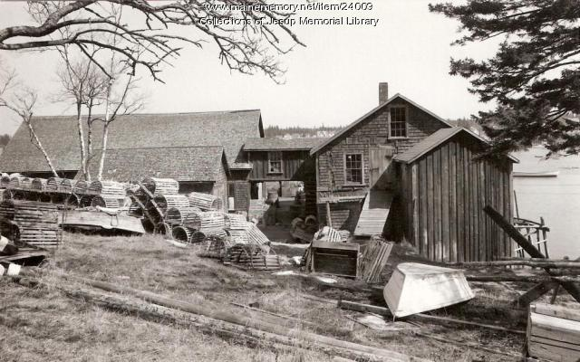 Lobstering Wharf and Gear, Bass Harbor, ca. 1940