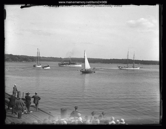 Schooners Bowdoin and Sachem III leaving Wiscasset, 1926