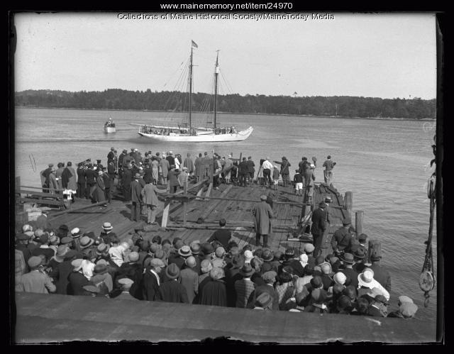Schooner Bowdoin passing the dock, Wiscasset, 1926