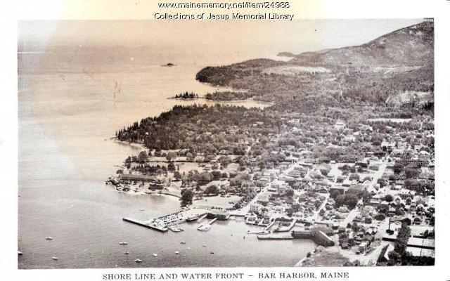 Shore line and water fron, Bar Harbor, ca. 1920