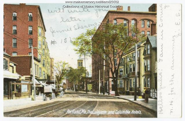 Lafayette and Columbia Hotels, Portland, 1907